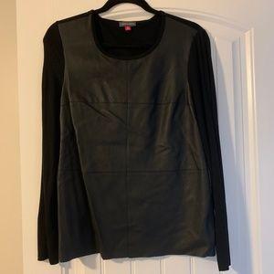 Vince Camuto Faux Black Leather L/S Top Medium